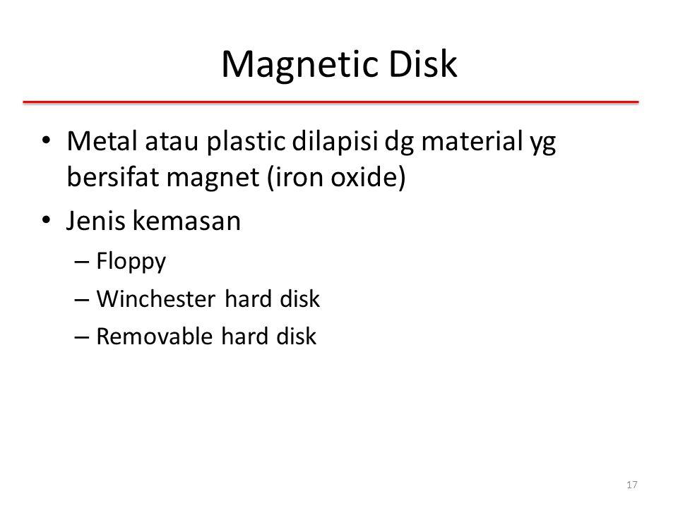 Magnetic Disk Metal atau plastic dilapisi dg material yg bersifat magnet (iron oxide) Jenis kemasan.