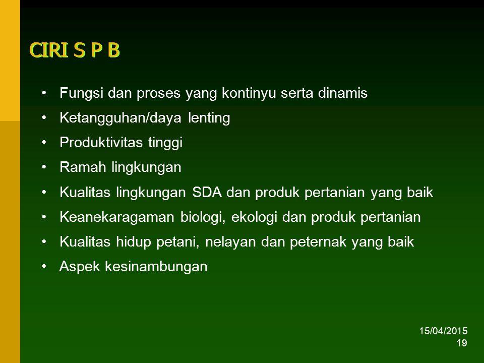 CIRI S P B Fungsi dan proses yang kontinyu serta dinamis