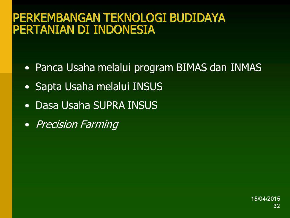 PERKEMBANGAN TEKNOLOGI BUDIDAYA PERTANIAN DI INDONESIA
