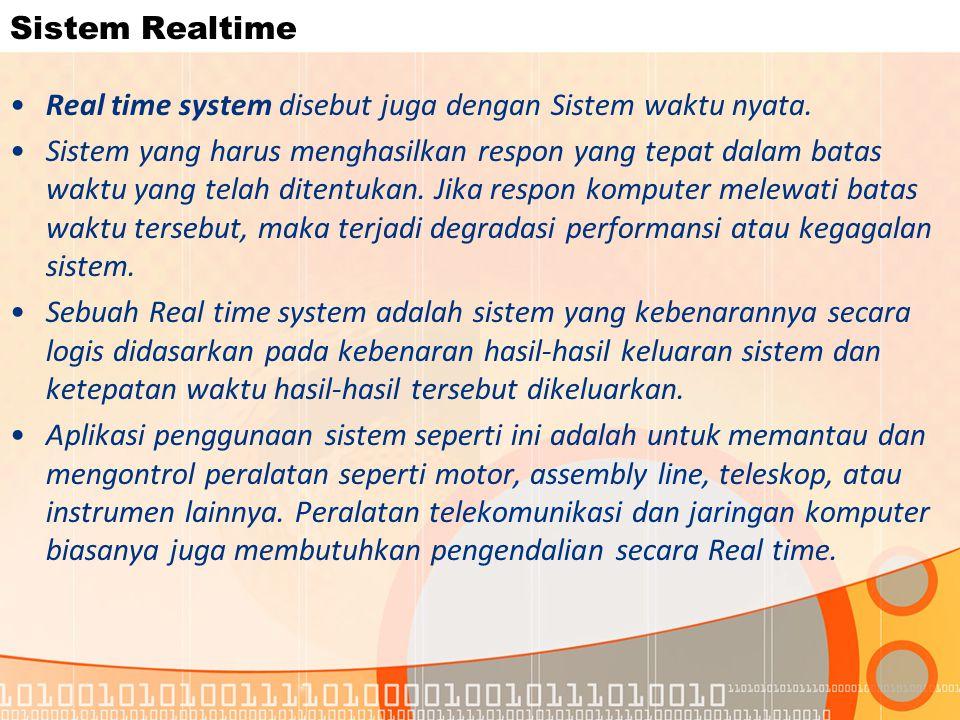 Sistem Realtime Real time system disebut juga dengan Sistem waktu nyata.