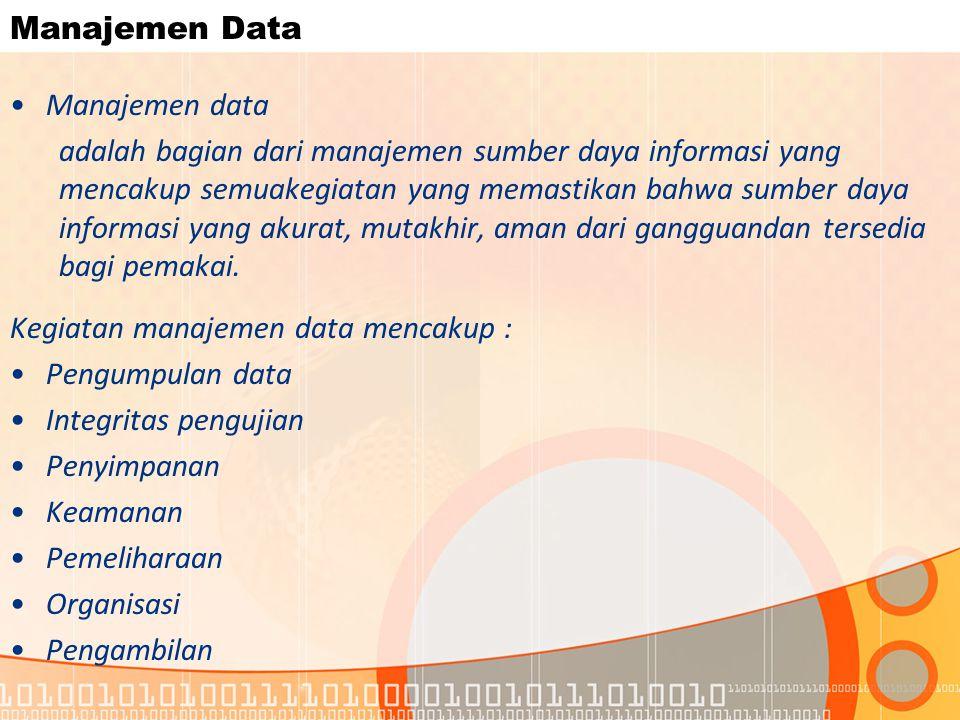 Manajemen Data Manajemen data.