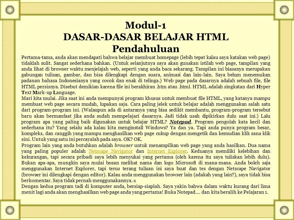 DASAR-DASAR BELAJAR HTML