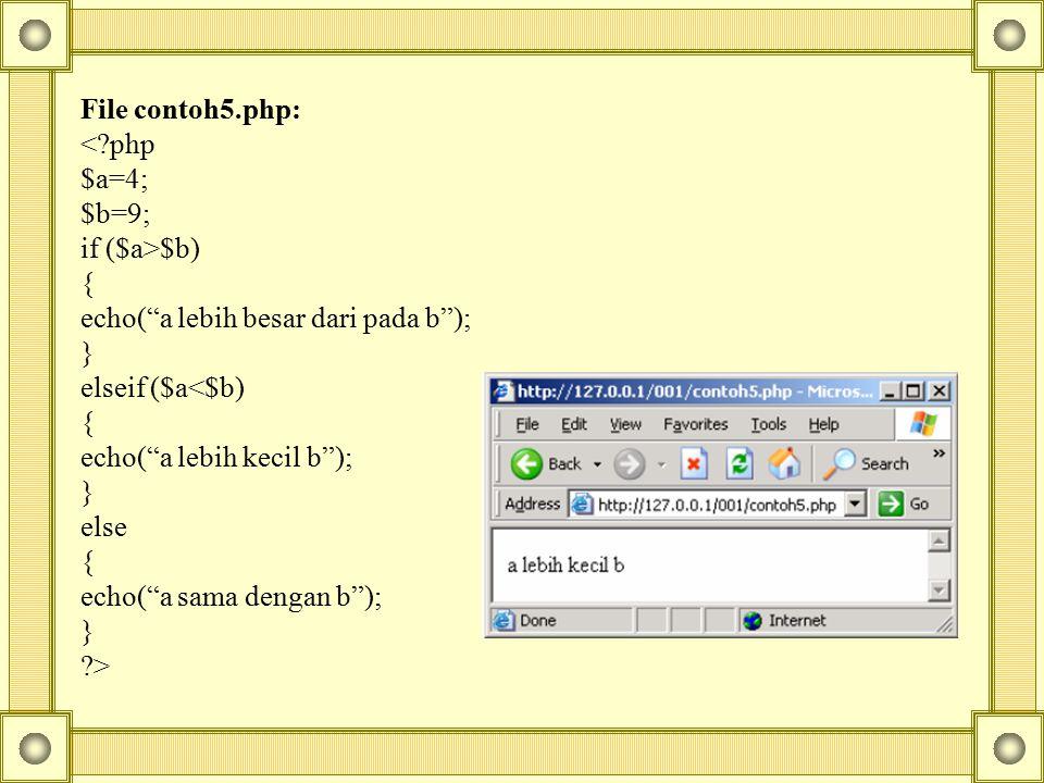 File contoh5.php: < php. $a=4; $b=9; if ($a>$b) { echo( a lebih besar dari pada b ); } elseif ($a<$b)