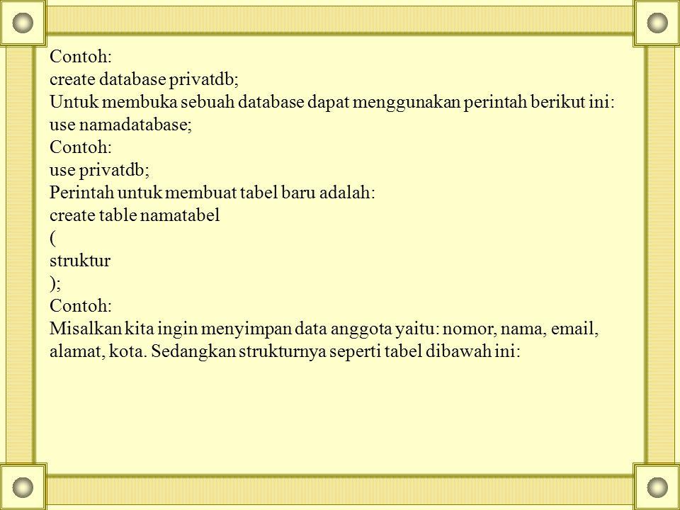 Contoh: create database privatdb; Untuk membuka sebuah database dapat menggunakan perintah berikut ini: