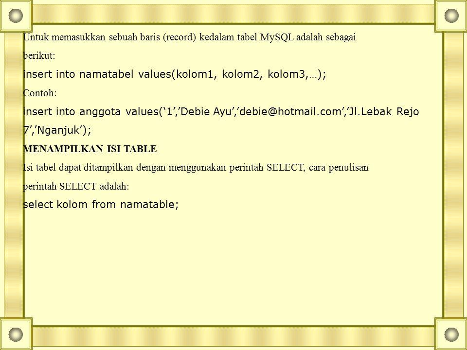 Untuk memasukkan sebuah baris (record) kedalam tabel MySQL adalah sebagai