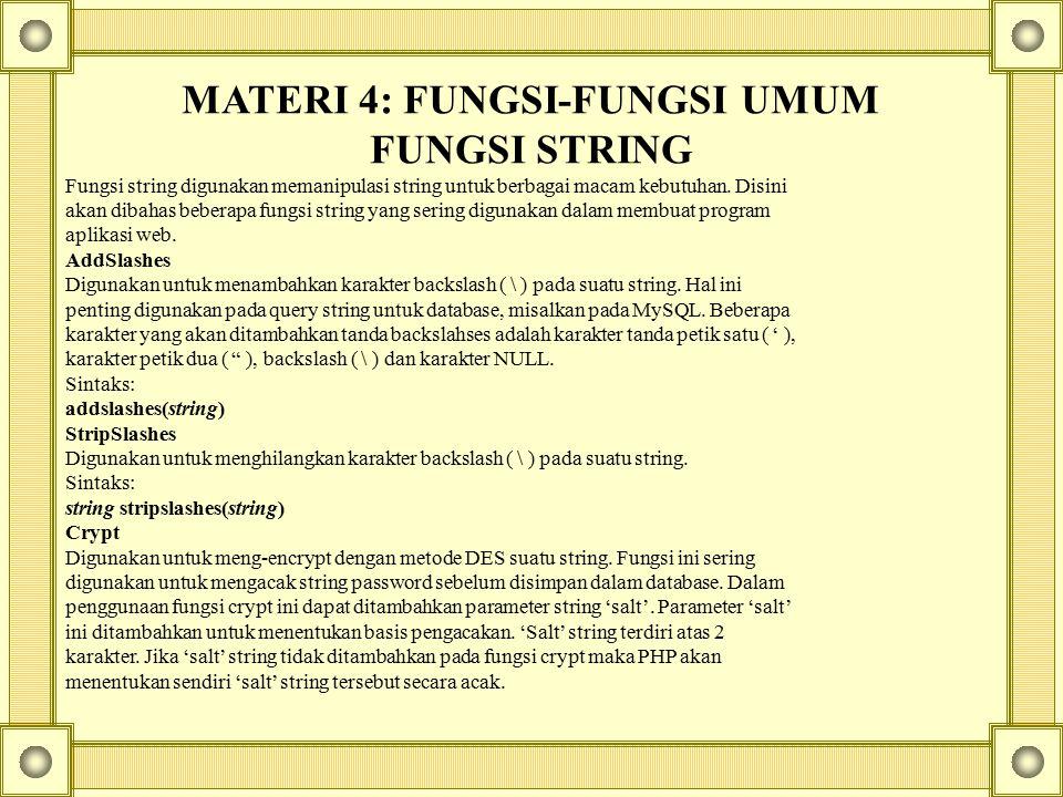 MATERI 4: FUNGSI-FUNGSI UMUM