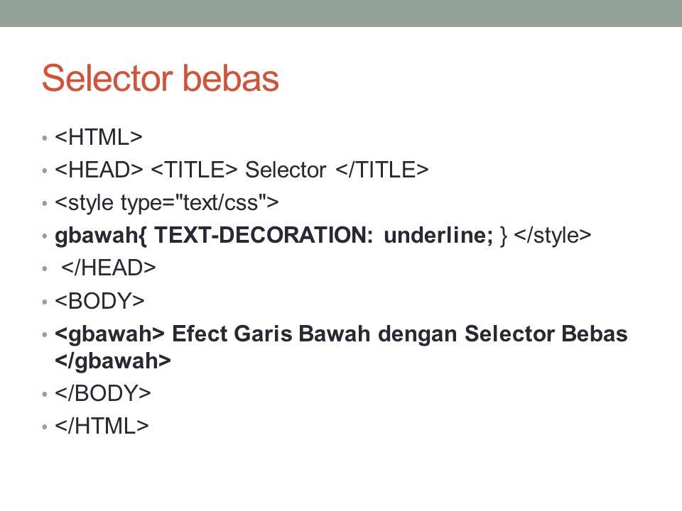 Selector bebas <HTML>