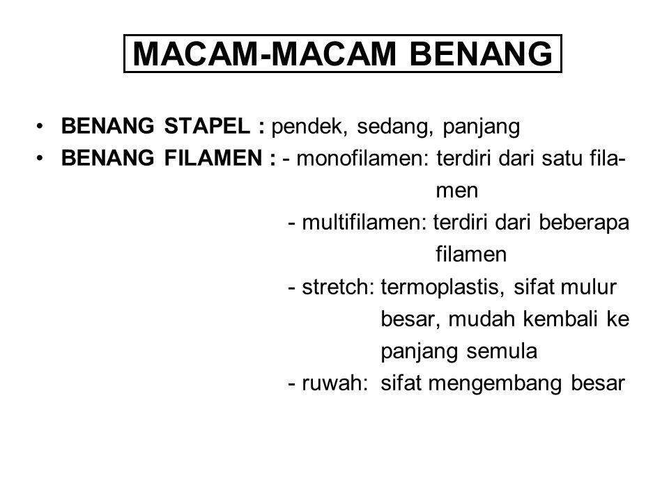 MACAM-MACAM BENANG BENANG STAPEL : pendek, sedang, panjang