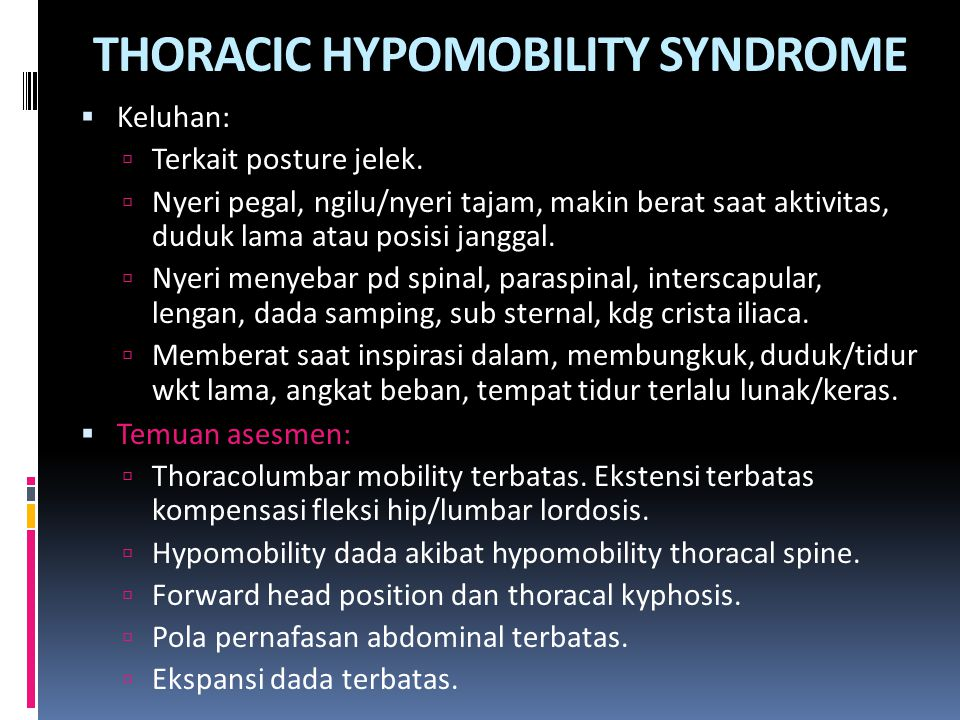 THORACIC HYPOMOBILITY SYNDROME