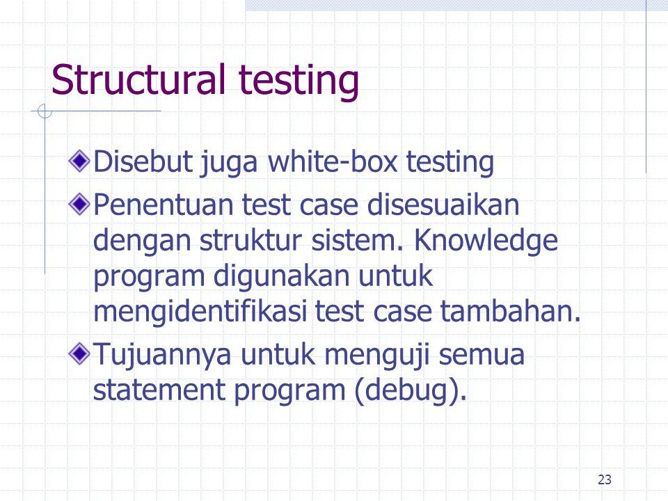 Structural testing Disebut juga white-box testing