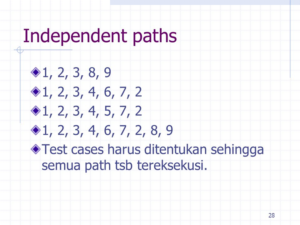 Independent paths 1, 2, 3, 8, 9. 1, 2, 3, 4, 6, 7, 2. 1, 2, 3, 4, 5, 7, 2. 1, 2, 3, 4, 6, 7, 2, 8, 9.