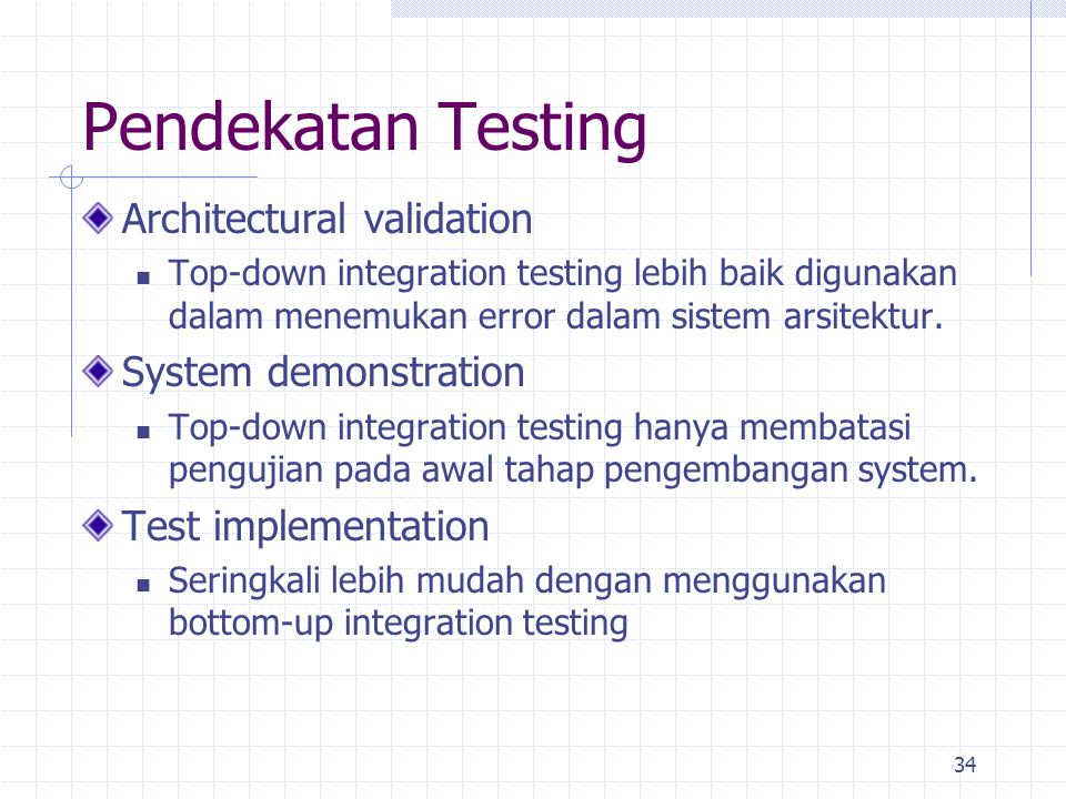 Pendekatan Testing Architectural validation System demonstration