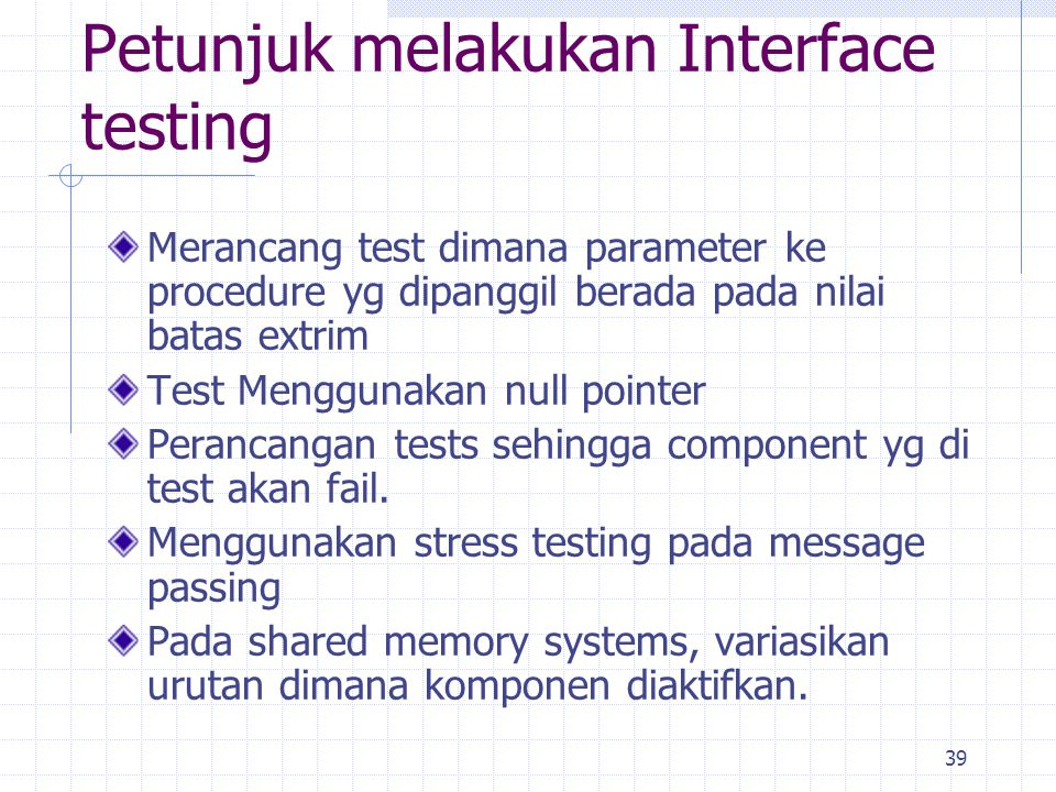Petunjuk melakukan Interface testing