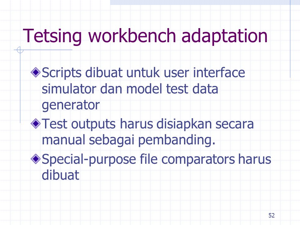 Tetsing workbench adaptation