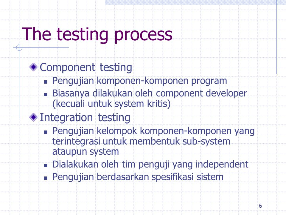 The testing process Component testing Integration testing