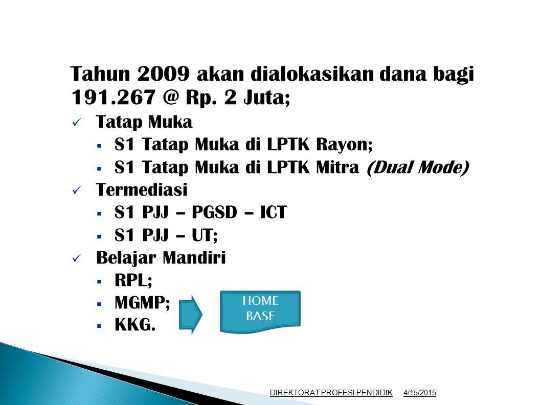 Tahun 2009 akan dialokasikan dana bagi 191.267 @ Rp. 2 Juta;