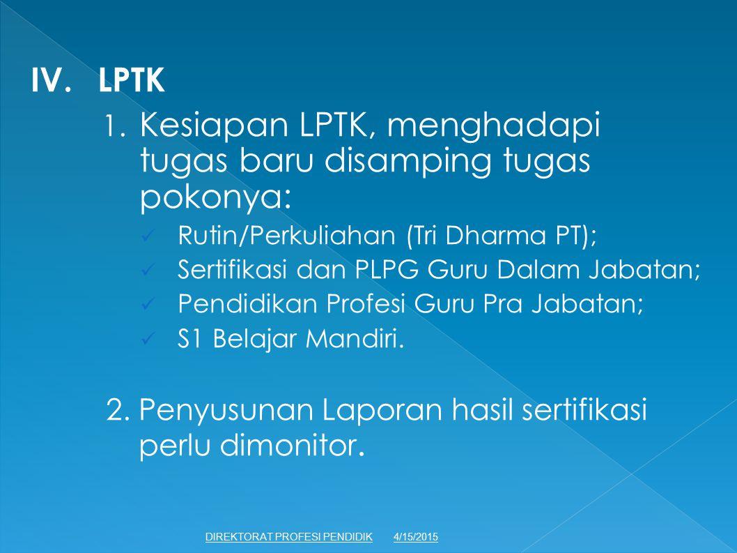 IV. LPTK 1. Kesiapan LPTK, menghadapi tugas baru disamping tugas pokonya: Rutin/Perkuliahan (Tri Dharma PT);