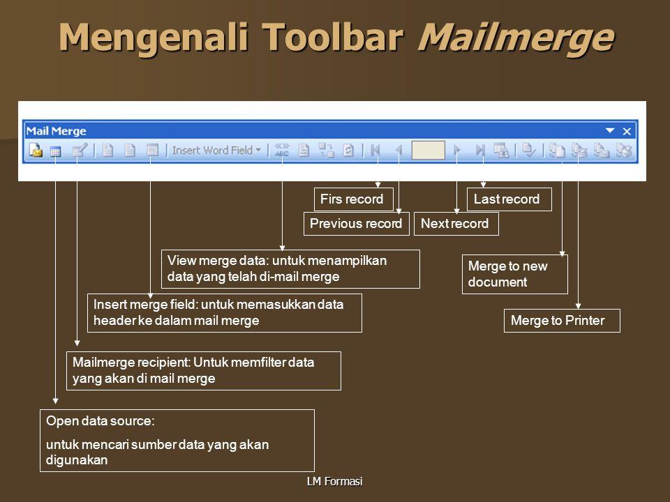 Mengenali Toolbar Mailmerge