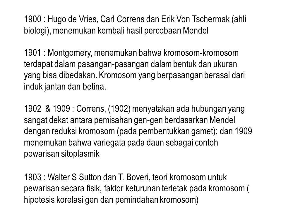 1900 : Hugo de Vries, Carl Correns dan Erik Von Tschermak (ahli biologi), menemukan kembali hasil percobaan Mendel