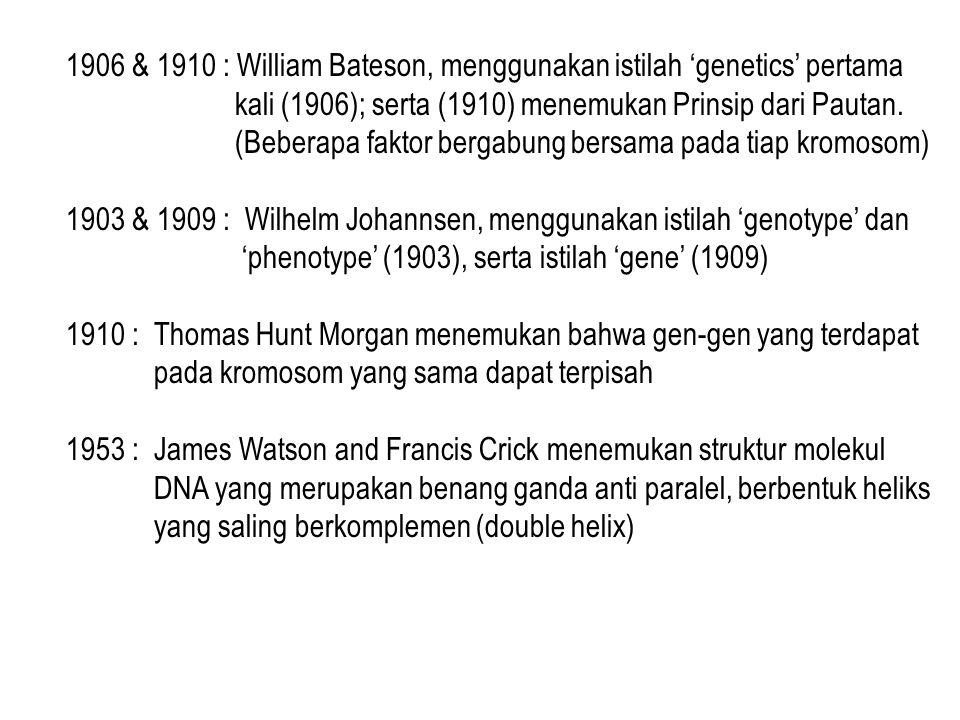 1906 & 1910 : William Bateson, menggunakan istilah 'genetics' pertama