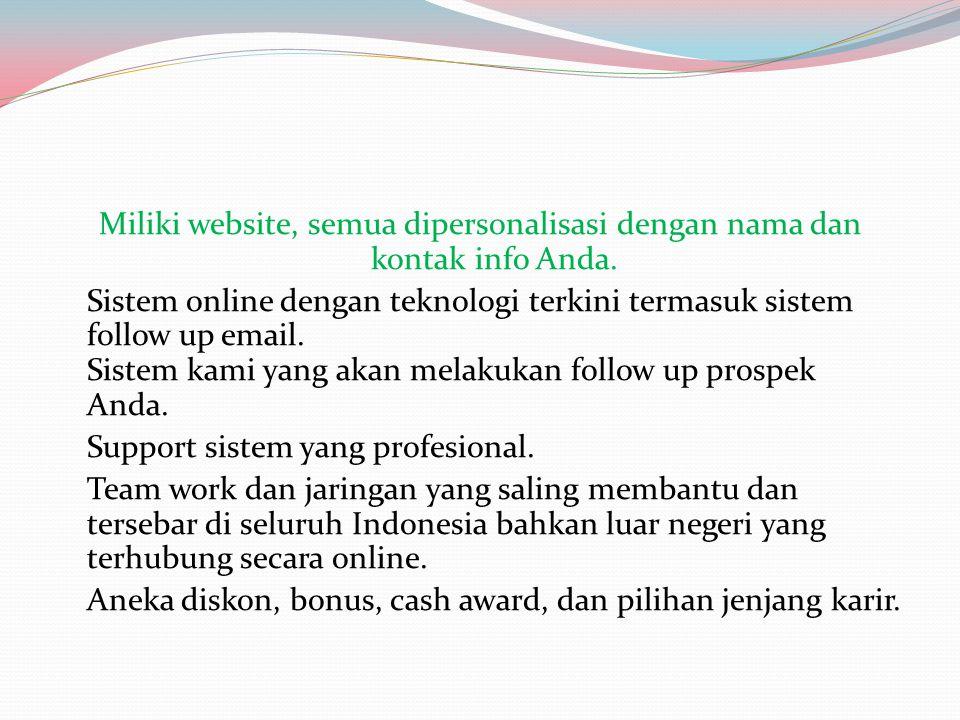 Miliki website, semua dipersonalisasi dengan nama dan kontak info Anda