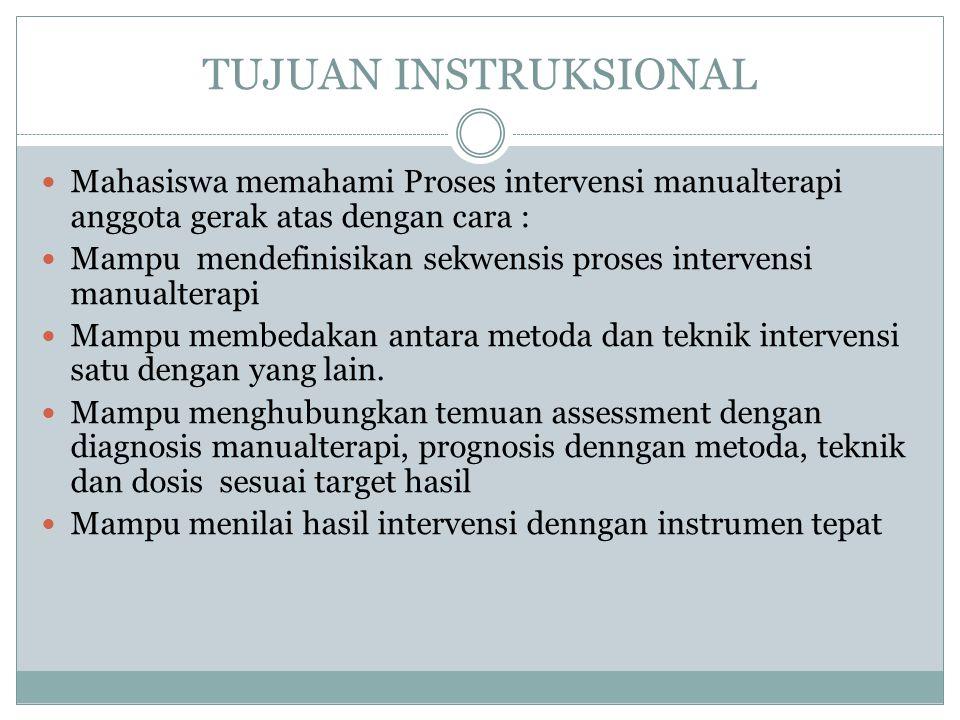 TUJUAN INSTRUKSIONAL Mahasiswa memahami Proses intervensi manualterapi anggota gerak atas dengan cara :
