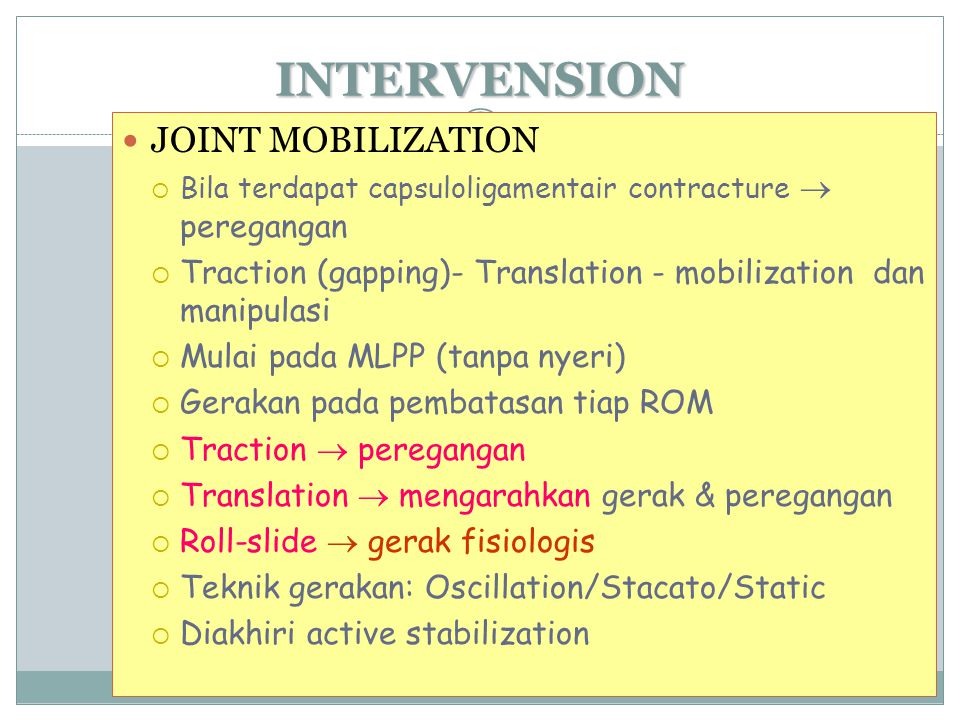 INTERVENSION JOINT MOBILIZATION