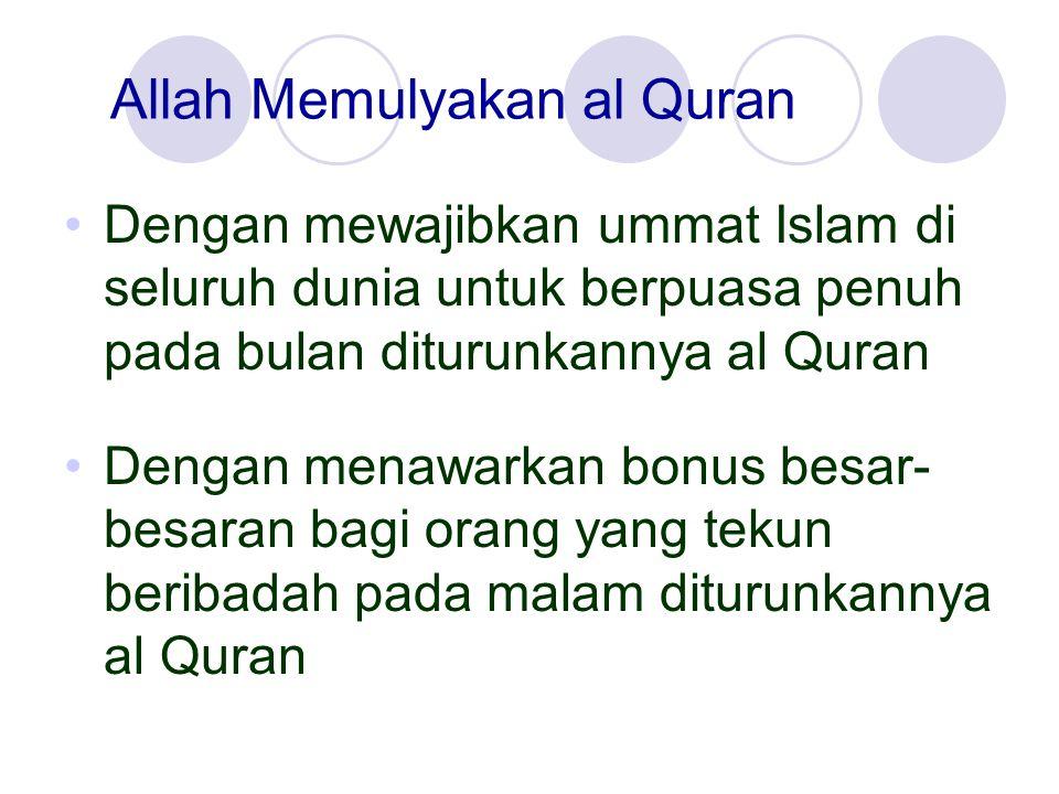 Allah Memulyakan al Quran