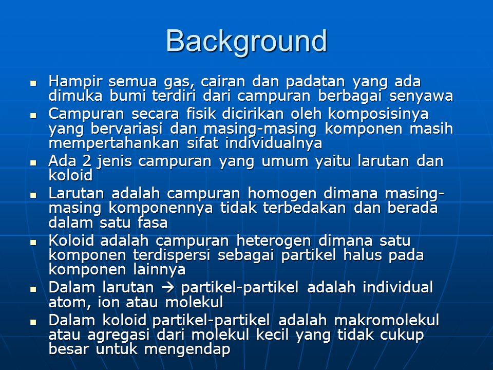 Background Hampir semua gas, cairan dan padatan yang ada dimuka bumi terdiri dari campuran berbagai senyawa.