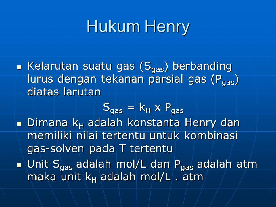 Hukum Henry Kelarutan suatu gas (Sgas) berbanding lurus dengan tekanan parsial gas (Pgas) diatas larutan.