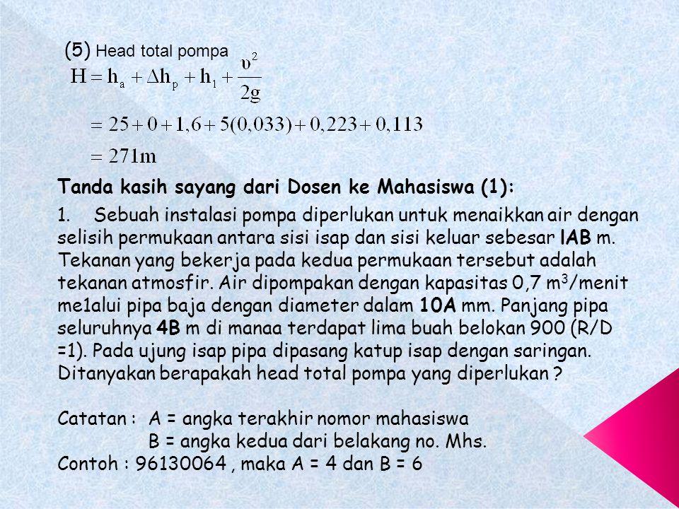 (5) Head total pompa Tanda kasih sayang dari Dosen ke Mahasiswa (1):