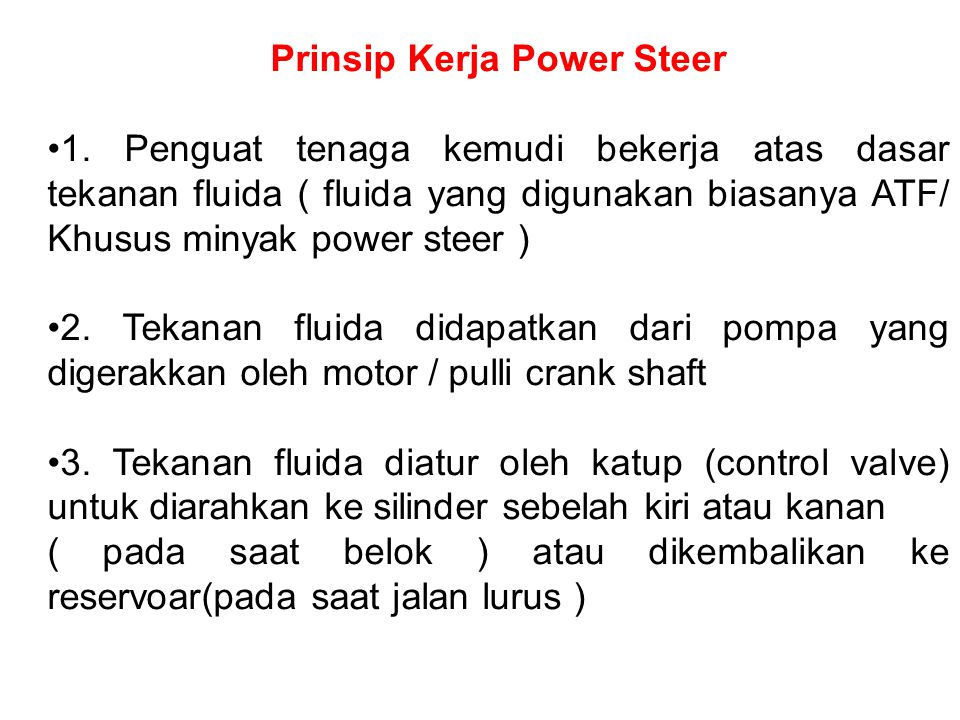 Prinsip Kerja Power Steer