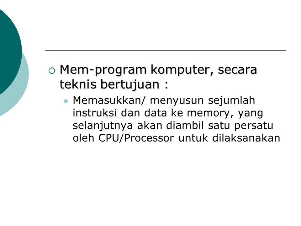 Mem-program komputer, secara teknis bertujuan :