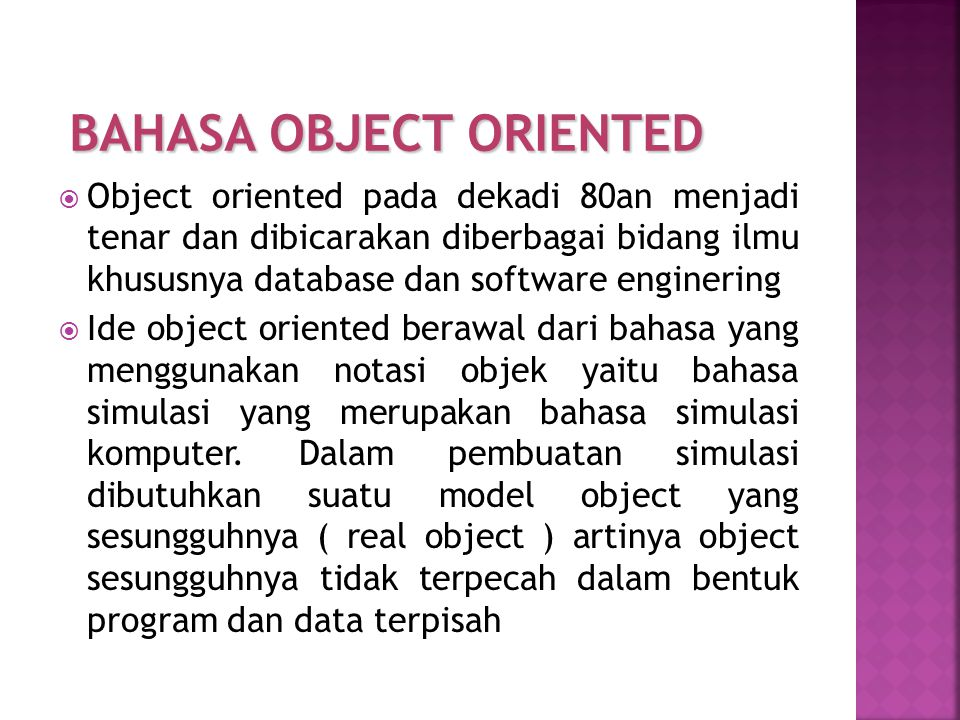 BAHASA OBJECT ORIENTED