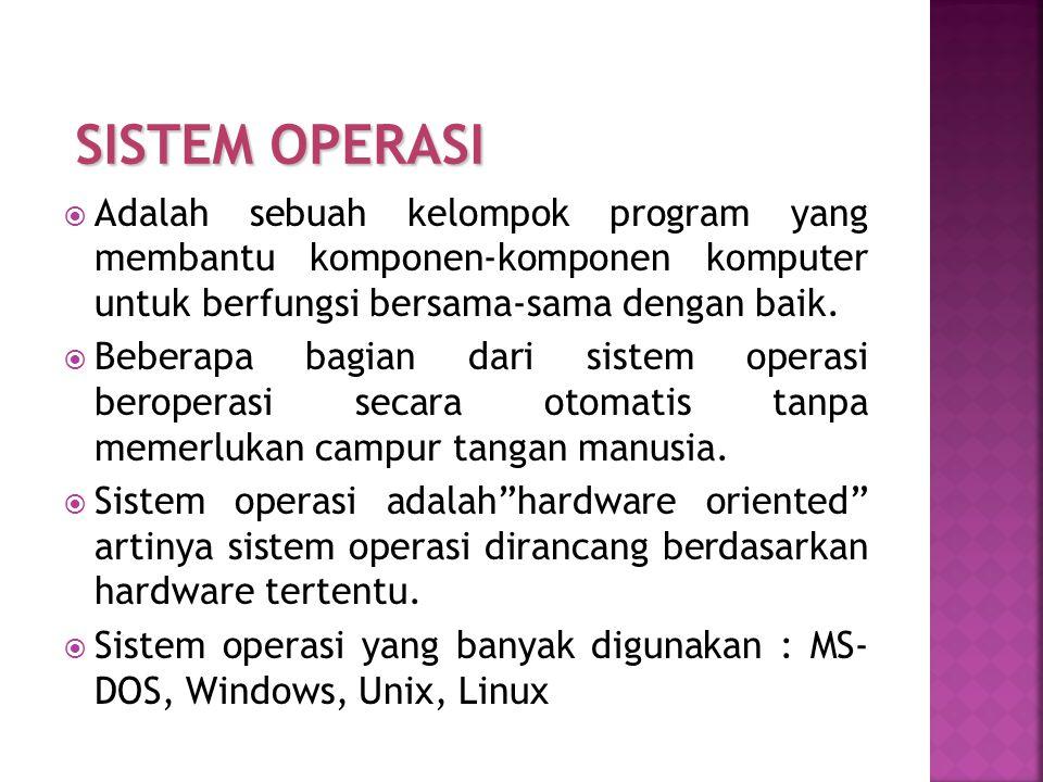 SISTEM OPERASI Adalah sebuah kelompok program yang membantu komponen-komponen komputer untuk berfungsi bersama-sama dengan baik.