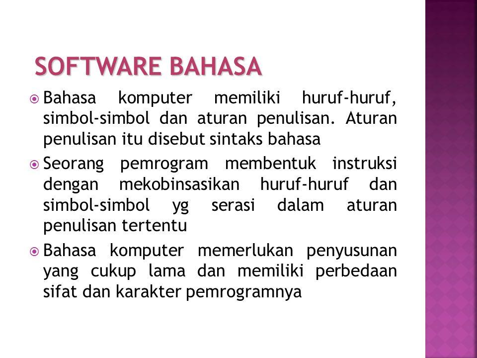 SOFTWARE BAHASA Bahasa komputer memiliki huruf-huruf, simbol-simbol dan aturan penulisan. Aturan penulisan itu disebut sintaks bahasa.