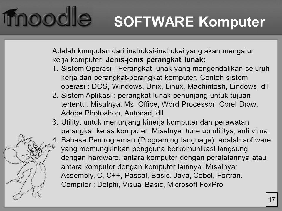 SOFTWARE Komputer Adalah kumpulan dari instruksi-instruksi yang akan mengatur kerja komputer. Jenis-jenis perangkat lunak: