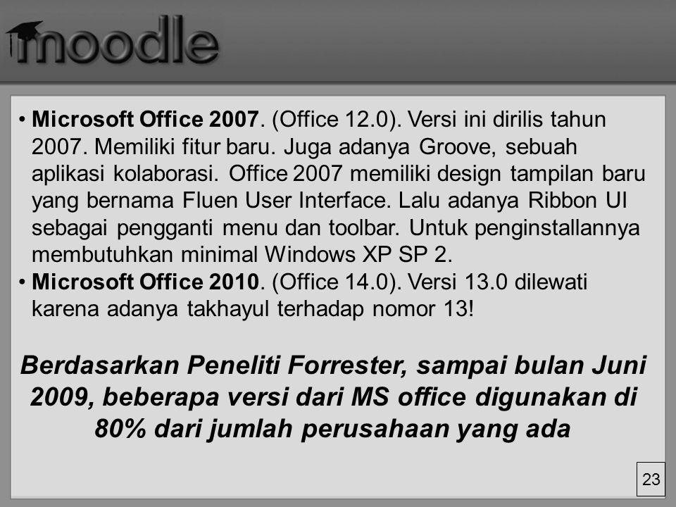 Microsoft Office 2007. (Office 12. 0). Versi ini dirilis tahun 2007