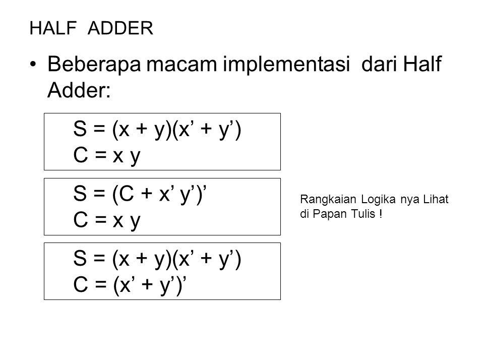 Beberapa macam implementasi dari Half Adder: