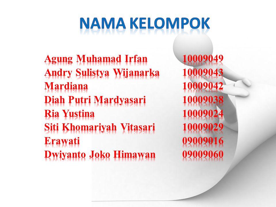 Nama kelompok Agung Muhamad Irfan 10009049