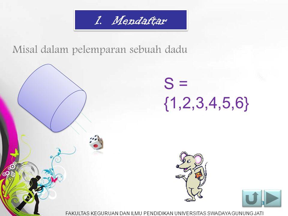 S = {1,2,3,4,5,6} 1. Mendaftar Misal dalam pelemparan sebuah dadu