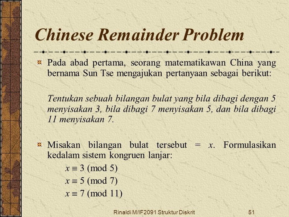 Chinese Remainder Problem