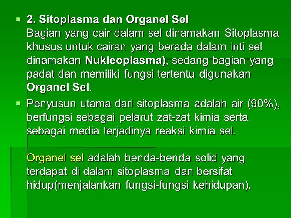 2. Sitoplasma dan Organel Sel Bagian yang cair dalam sel dinamakan Sitoplasma khusus untuk cairan yang berada dalam inti sel dinamakan Nukleoplasma), sedang bagian yang padat dan memiliki fungsi tertentu digunakan Organel Sel.