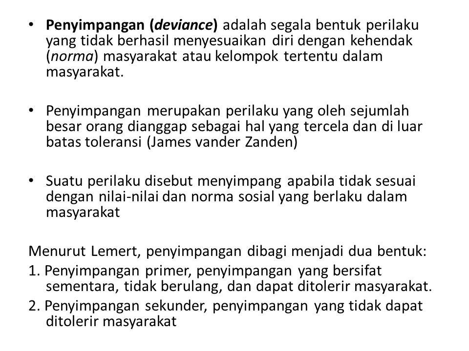 Penyimpangan (deviance) adalah segala bentuk perilaku yang tidak berhasil menyesuaikan diri dengan kehendak (norma) masyarakat atau kelompok tertentu dalam masyarakat.
