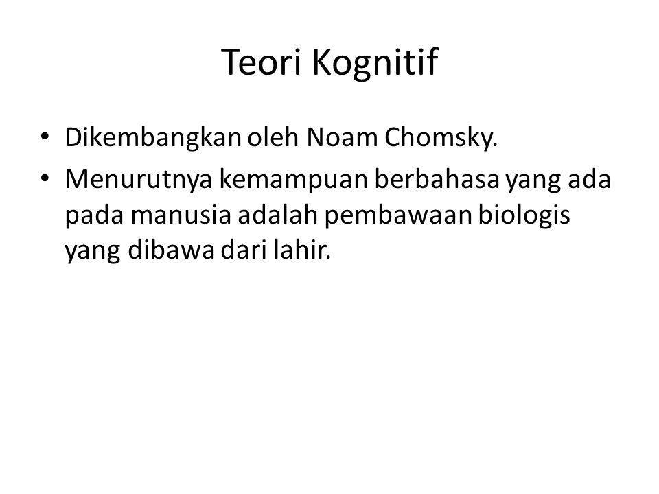Teori Kognitif Dikembangkan oleh Noam Chomsky.