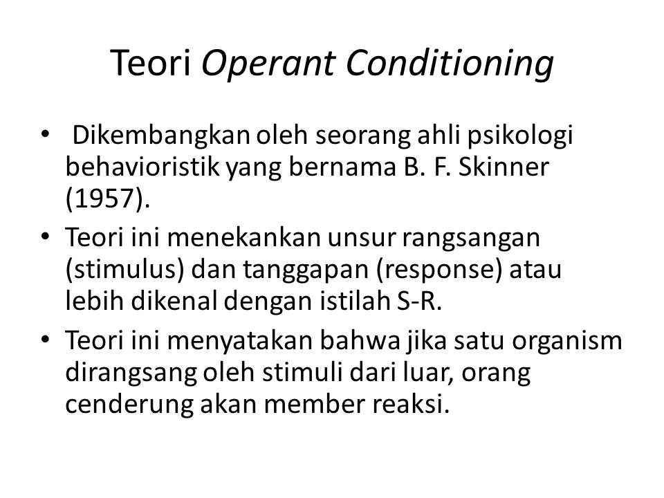 Teori Operant Conditioning