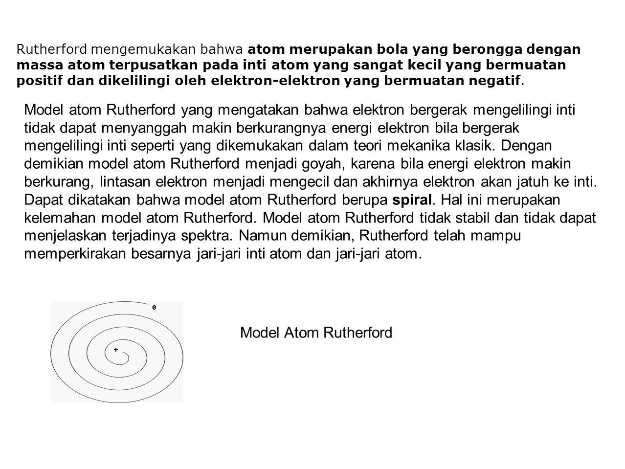Rutherford mengemukakan bahwa atom merupakan bola yang berongga dengan massa atom terpusatkan pada inti atom yang sangat kecil yang bermuatan positif dan dikelilingi oleh elektron-elektron yang bermuatan negatif.