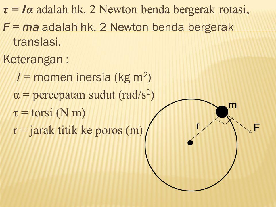 τ = Iα adalah hk. 2 Newton benda bergerak rotasi, F = ma adalah hk