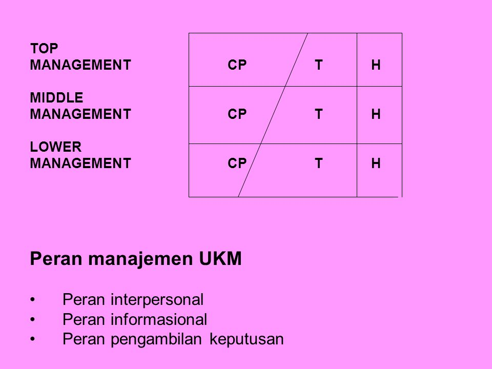 TOP MANAGEMENT CP T H MIDDLE MANAGEMENT CP T H LOWER MANAGEMENT CP T H