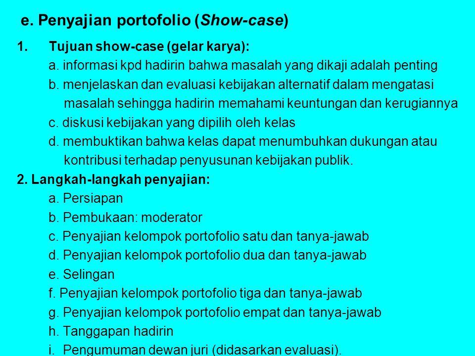 e. Penyajian portofolio (Show-case)